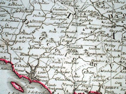 1787 map of Morbihan by Bonne and Desmarest